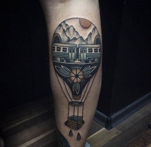 Hot Air Balloon Tattoos. Artists credited within.