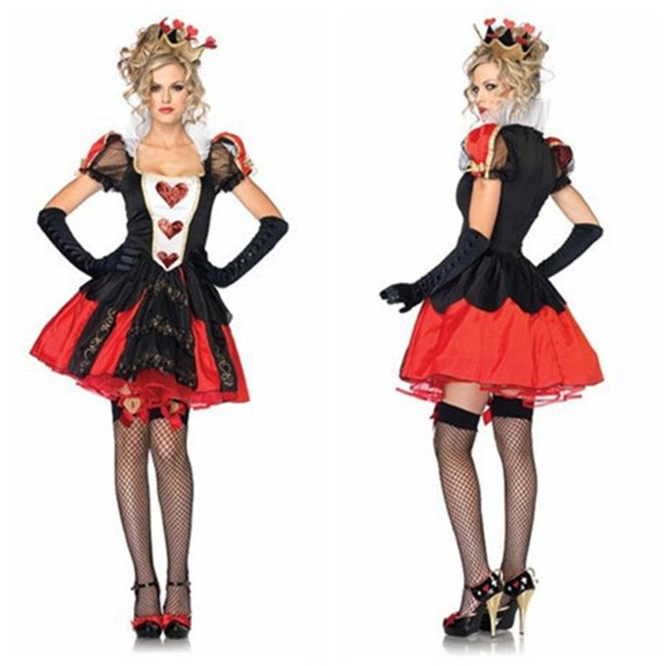 >> Click to Buy << 2017 Adult Womens Halloween Costumes Poker Red Queen of Hearts Costume Dress Carnival Party Queen Costumes #Affiliate
