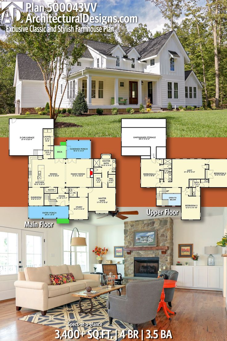Architectural Designs Exclusive Farmhouse House Plan 500043VV