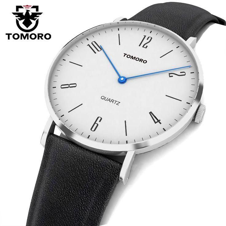 TOMORO Super Slim Quartz Casual Business Genuine Leather Brand Japan Quartz Minimumism Watch Men's Fashion 2017 relojes hombre