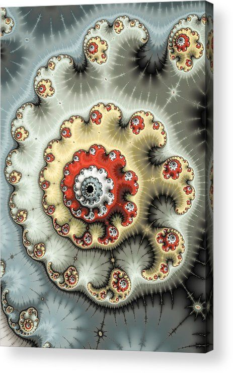 Spiral Acrylic Print for sale. Modern abstract fractal art, spirals and swirls in beautiful red, beige, yellow and grey tones. The image gets printed directly onto the back of a sheet of clear acrylic. The image is the art - it doesn't get any cleaner than that! Matthias Hauser - Art for your Home Decor and Interior Design.