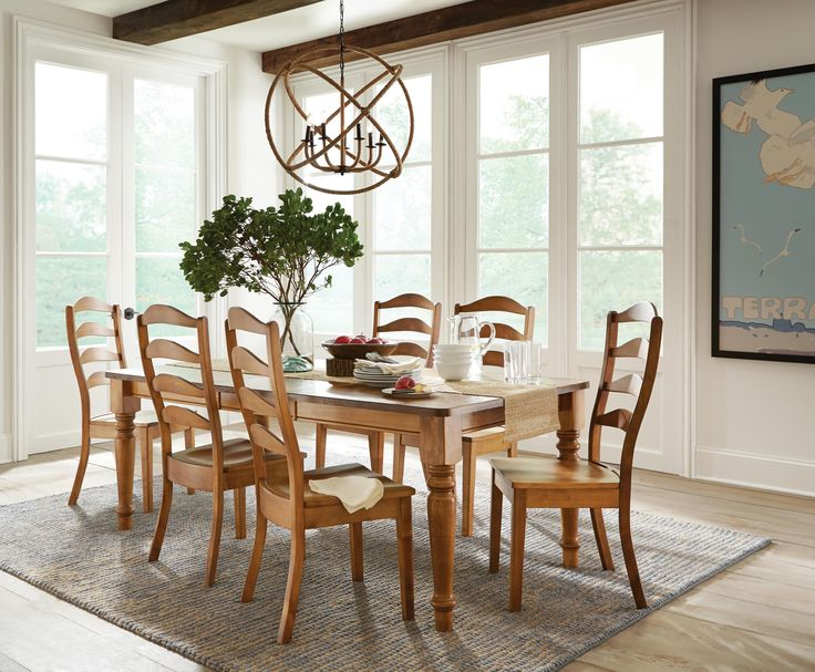 Made In The USA Of Solid Maple Beautiful Colfax Dining Collection Offers Hints RoomsDining Room SetsDining TableFrench