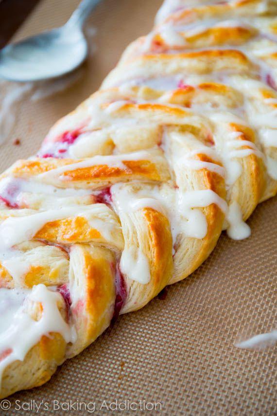 Iced Raspberry Danish Braid - with homemade pastry using the quick method   sallysbakingaddiction.com