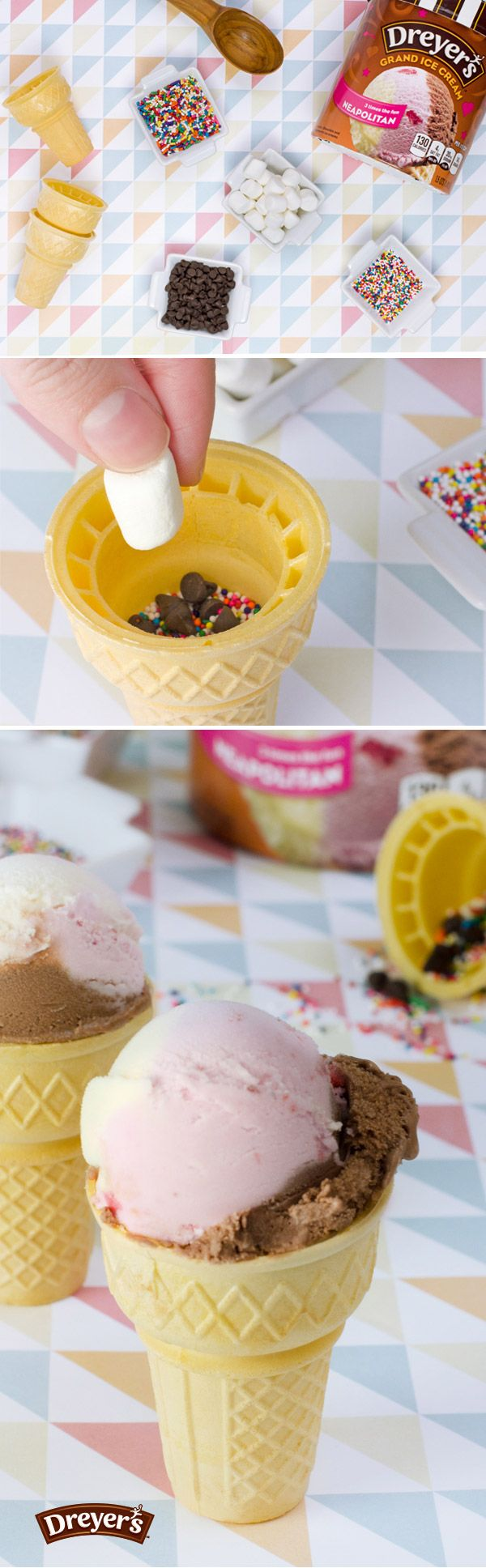 These simple treats are perfect for a party! Just fill the bottom of a cone with your favorite treats – candy, marshmallows, sprinkles, or any other fun goodies you have on hand and top with a scoop of Dreyer's ice cream. Finish your ice cream to find your sweet surprise!