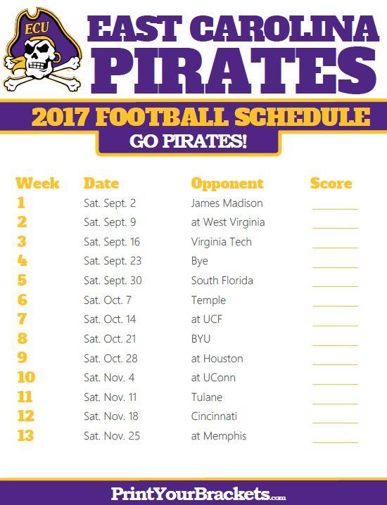 2017 East Carolina Pirates Football Schedule
