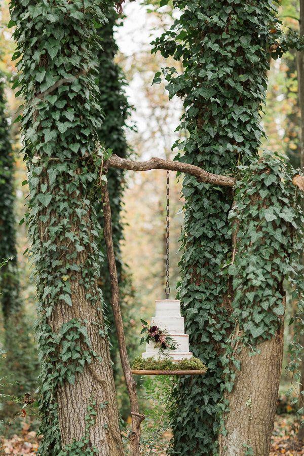 Hanging Wedding Cake Display  https://heyweddinglady.com/fall-flowers-woodland-wedding-shoot/    #weddinginspiration #wedding #weddings #fall #rustic #flowers #weddingday #weddingdress #brides #engaged #bohemianwedding  #bohemian
