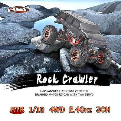 ﹩. HSP 94180T2 1/10 2.4Ghz 3CH 4WD Electronic Powered RTR Rock Crawler RC Car V8L4    Item name - RC Rock Crawler, ISBN - Does not apply, Battery charger - US plug optional, UPC - Does not apply, ASIN - B01J79ERSA, MPN - DQY9475846484713GY