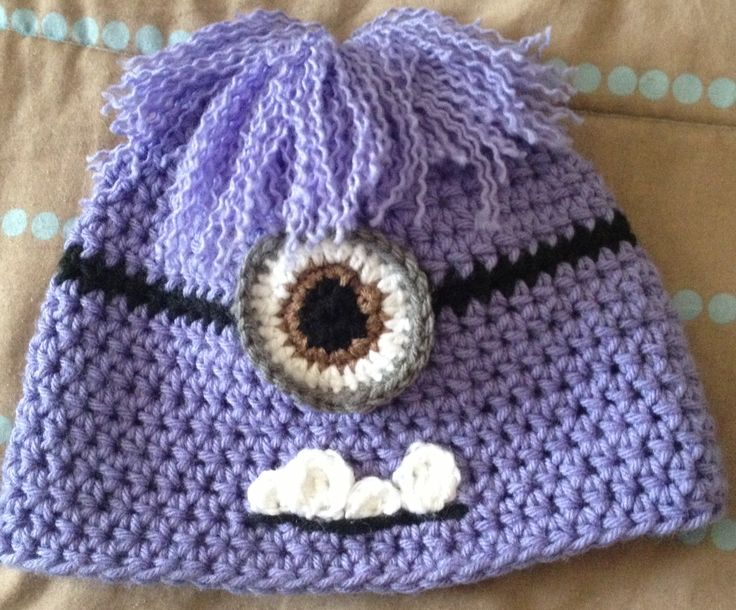 Despicable me purple minion crochet hat