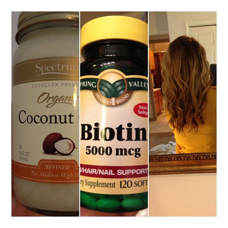 Coconut oil hair mask once a week + biotin capsules daily = long curly brown model hair.