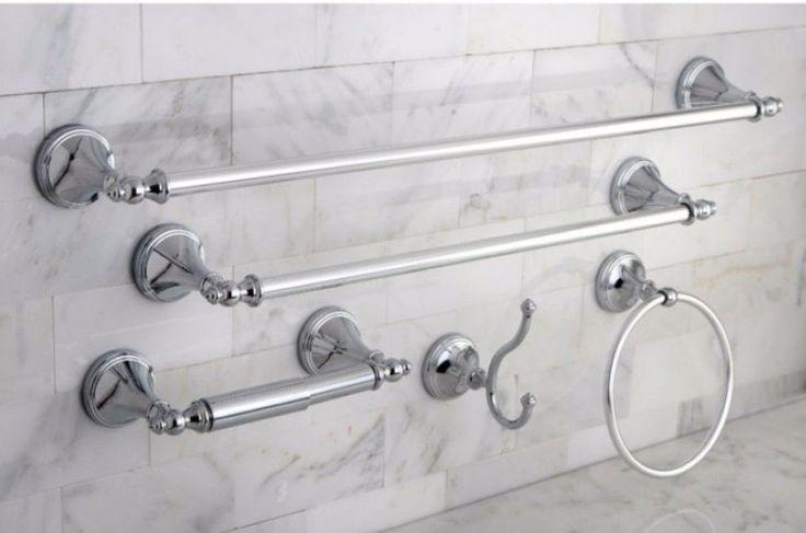Naples Chrome Finish Five-Piece Contemporary Bathroom Accessory Set New #KingstonBrass