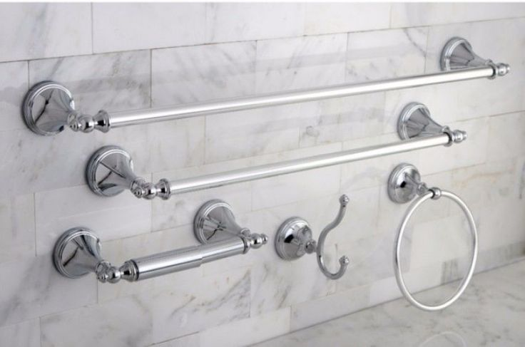 Naples Chrome Finish Five-Piece Contemporary Bathroom Accessory Set New #KingstonBrass
