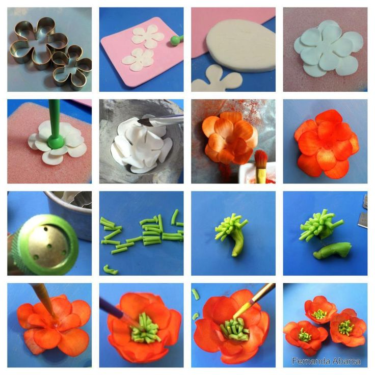 Another poppy tute - pictures only. #Polymer #Clay #Tutorials