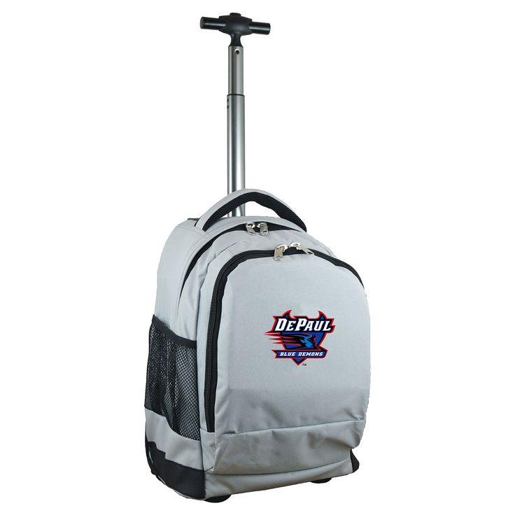 NCAA DePaul Blue Demons Grey Premium Wheeled Backpack