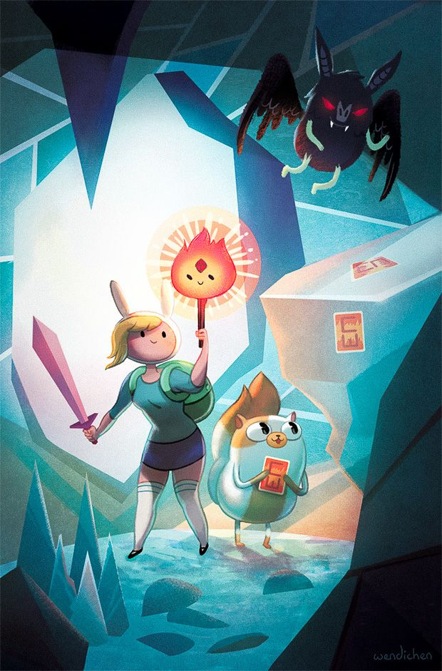 wendichen:  So excited to share my comic cover for the latest Adventure Time with Fionna & Cake: CARD WARS Issue #3,out now in comic stores! Big thanks to boomstudios for the wonderful opportunity! I'll have a bunch of signed comics and posters for sale at RCCC this weekend. You can also pick up a signed copy of this comic from my online store!