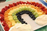 St. Patrick's Day fruit platter with whipped topping clouds for dipping
