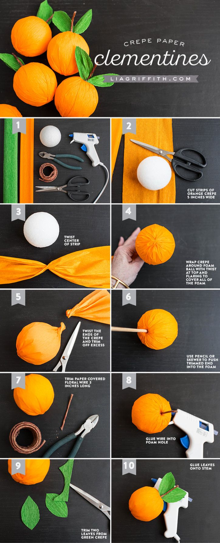 Paper covered craft wire - Diy Crepe Paper Clementine Crepe_clementine_tutorial