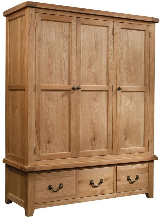 Devonshire Somerset Oak Wardrobe Triple 3 Drawer