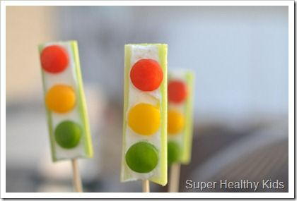 celery, cream cheese, and red, yellow and green bell pepper stop lights