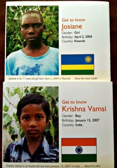 Sponsor a Child, Change a Life - As a volunteer Child Ambassador for World Vision, I'm working to find sponsors for Josiane in Rwanda and Krishna in India. If you've ever considered sponsoring a child, this might be the time. @worldvisionusa