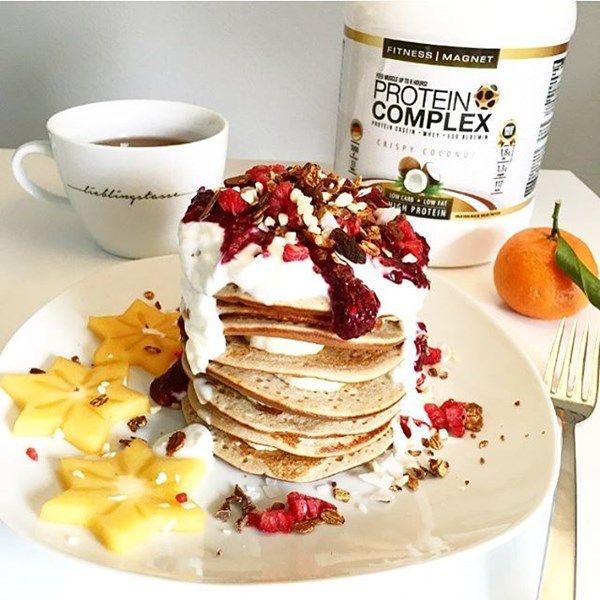 Lecker-luftige Protein-Pancakes mit Buchweizenmehl.