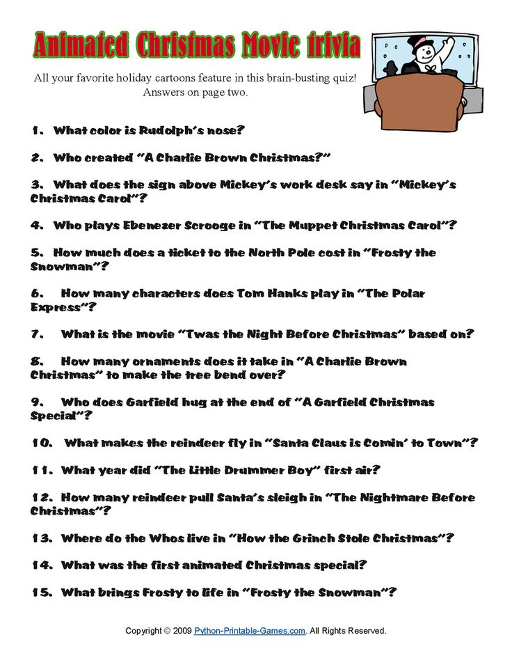 Printable Christmas Trivia Questions Answers   ... quiz for kids imprentas de granada christmas quizzes with answers