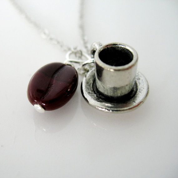 Cup of Joe Coffee Cup and Coffee Bean Charm Necklace.. $12.00, via Etsy.
