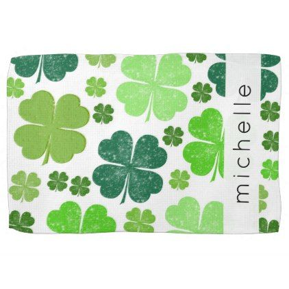 Your Name - Saint Patrick's Day Clovers - Green Hand Towel - saint patricks day st patricks holiday ireland irsih special party