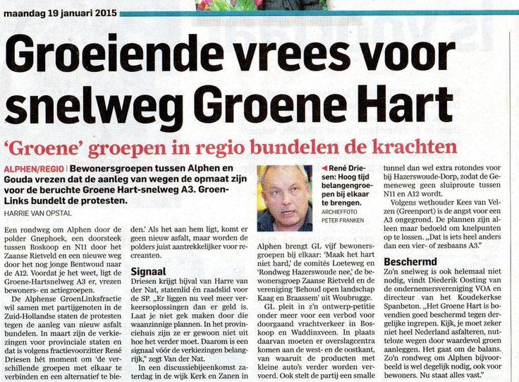 artikel AD: Groeiende vrees voor snelweg Groene Hart
