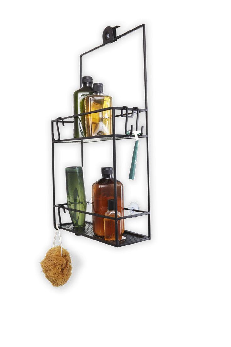 Caddie de douche à 2 paniers et plusieurs crochets, avec cet accessoire vous ne manquerez plus jamais d'espace de rangement dans votre douche.