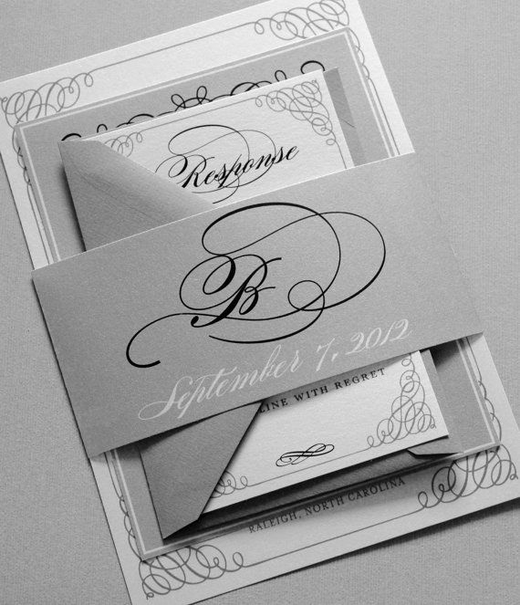 Black White and Gray Wedding Invitations  by Whimsy B. Designs, $4.99