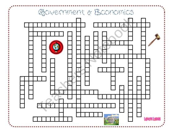 Government & Economics Crossword Puzzle from LaRocks