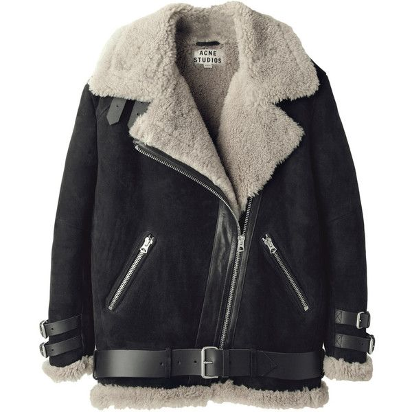 Acne Studios Velocite Oversized Shearling Jacket (€2.075) ❤ liked on Polyvore featuring outerwear, jackets, coats, coats & jackets, shiny jacket, buckle jackets, acne studios jacket, collar jacket and oversized collar jacket