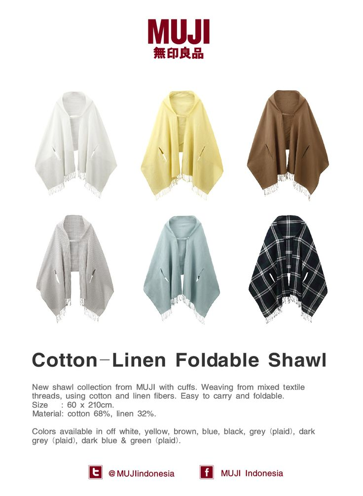 [Shawl with Cuffs] Weaving from mixed textile threads, using cotton and linen fibers. Easy to carry and fold-able.