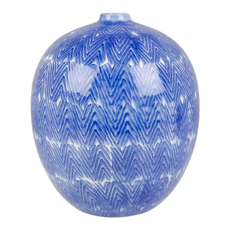 vase v-shape pattern blue ceramic 26cm