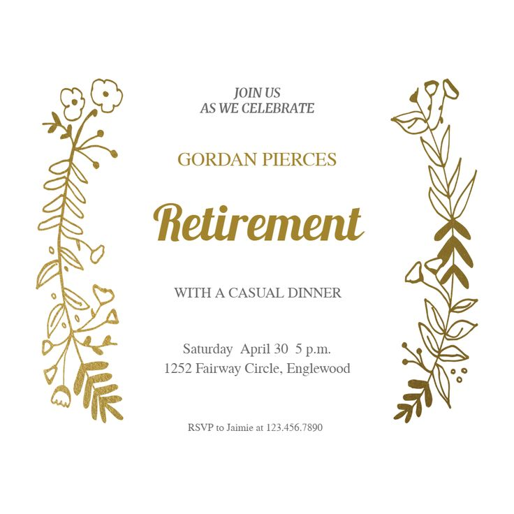 Side by Side Gold - Free Retirement & Farewell Party Invitation Template | Greetings Island