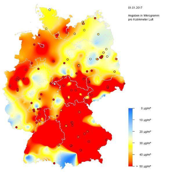 Deutschland hat das neue Jahr mit Böllern und Raketen gefeiert - und prompt sind die Feinstaubwerte in extreme Höhen geschnellt. Die Partikel dringen tief in Nase und Lunge ein und können Krebs auslösen.