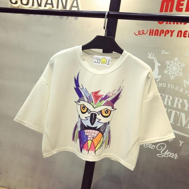 Sexy 2017 Spring Summer New Leisure Cotton T Shirt Batwing Sleeve Fashion Deer Animal Print Women Tops Tshirt White Black