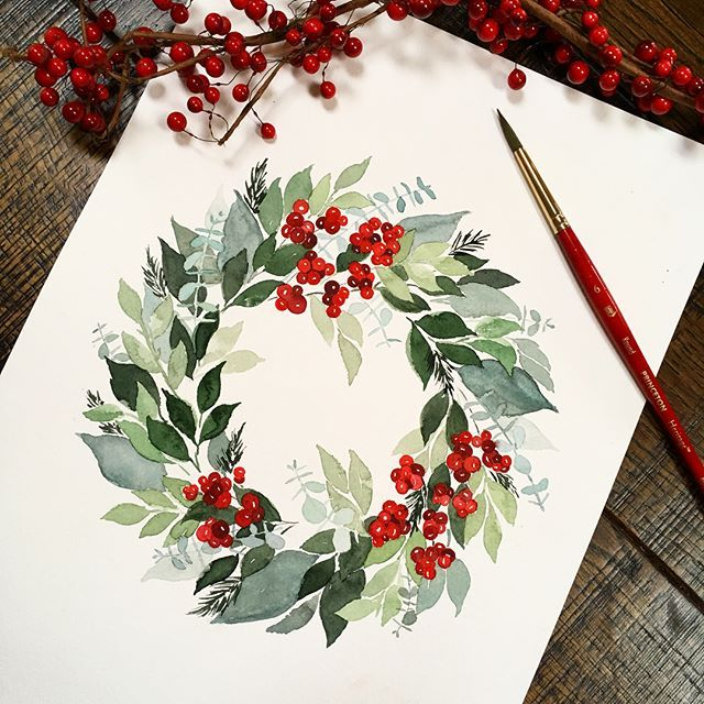 Holiday watercolor wreath with red berries by sweetseasonsart