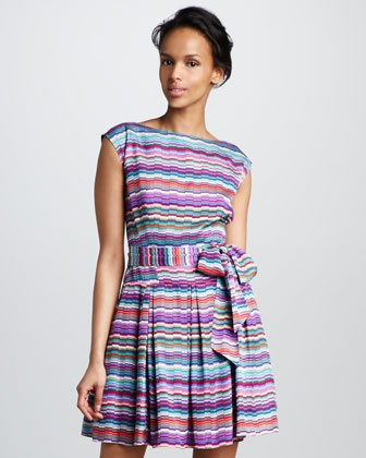 Striped Silk Dress - Neiman Marcus