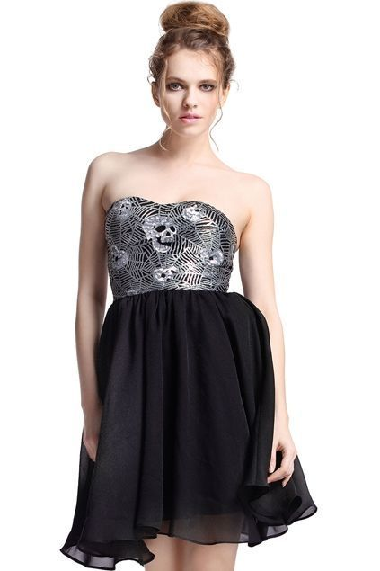 Silver Sequined Bandeau Dress