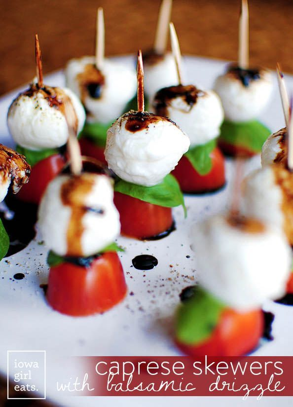 Caprese Skewers with Balsamic Drizzle are perfect bites of freshness. Enjoy this healthy appetizer recipe year round! | iowagirleats.com