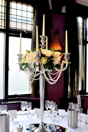 Candelabra centrepiece with draping pearls and crystals - from Laurel Weddings at The Belle Epoque, Knutsford