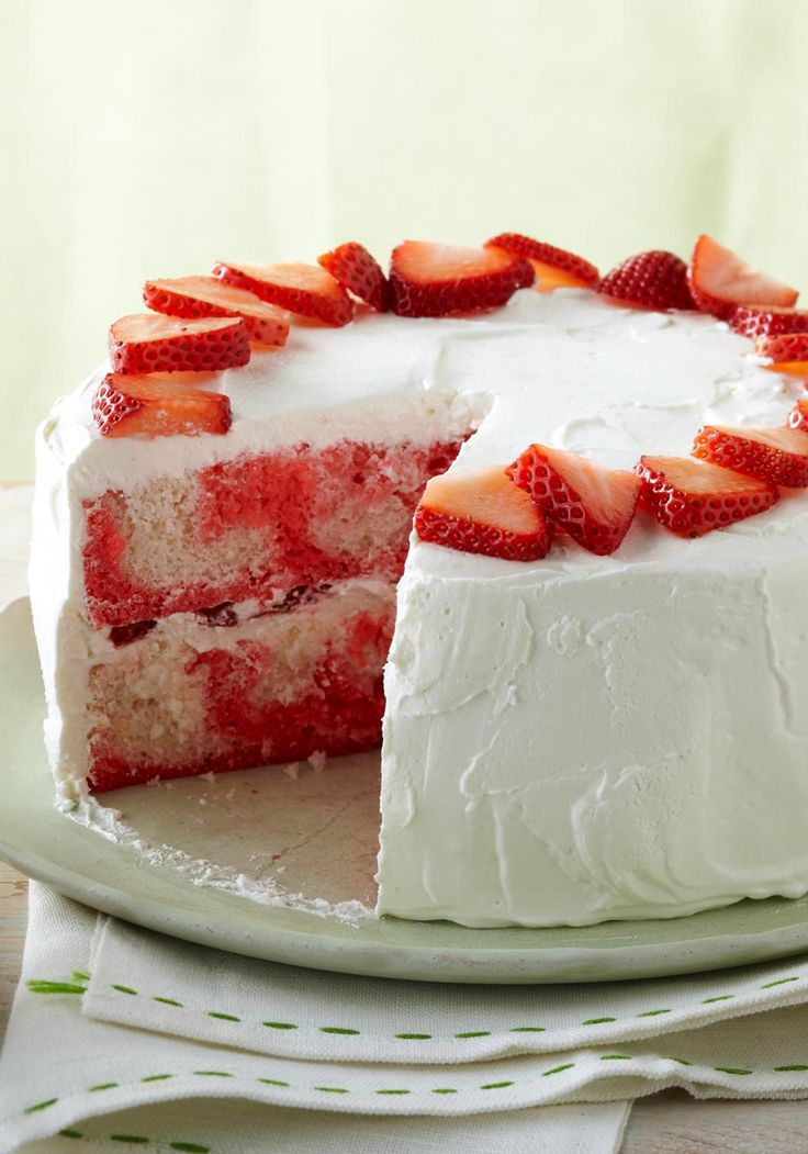 Strawberry-Swirl Cake – Compliments follow this dessert recipe everywhere it goes: moist, airy, refreshing, sweet. And might we add, easy.