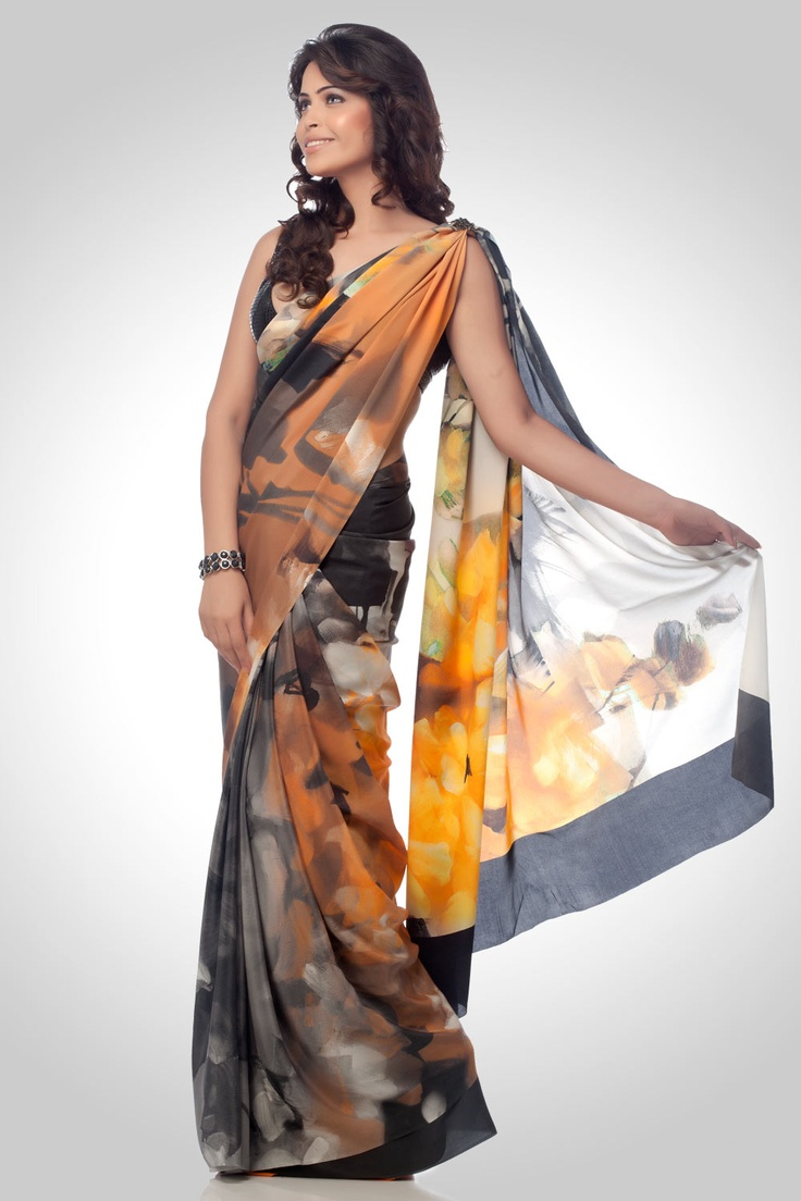Grey and golden georgette saree with abstract print | Satya Paul