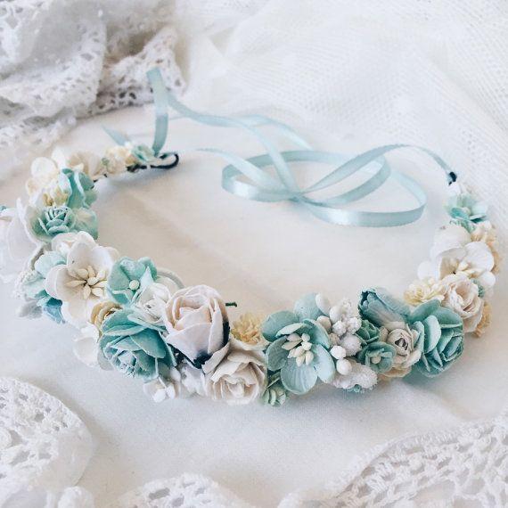 Aqua Bridal crown Bridal flower crown Wedding headband by SERENlTY