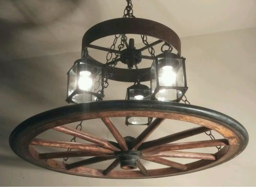 American Antique Vintage Wooden Wagon Wheel Chandelier with Vintage  Lanterns USA Handmade by G. S. Green Home - 19 Best Ruedas Images On Pinterest Products, Good Ideas And My
