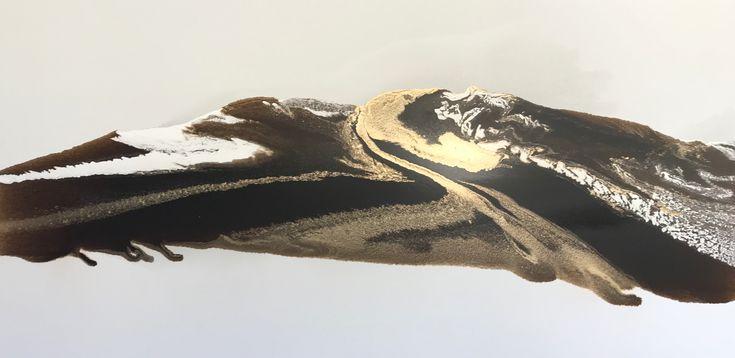 Golden Estuary 1600 x 800mm mixed media on canvas #alexkrenzart #alexanderkrenzart #abstractlandscapes