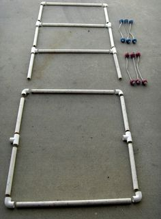 Plans and pictures to construct and play laddergolf, also known as ladder ball, blongo balls or bolo toss.  A cheap alternative to expensive commercial games that works just as well.