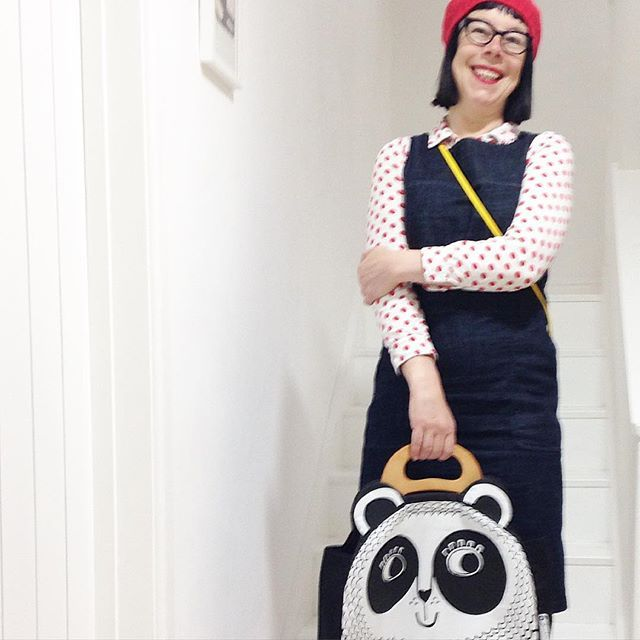 Funny photo of me from last week - my Panda bag always gets a smile! @makeinternational #janefoster