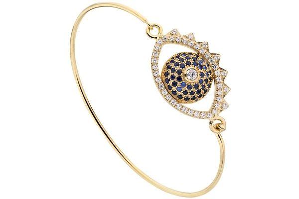 Bracelet jonc Eye plaqué or18K, brillants, Ø60mm Kenzo